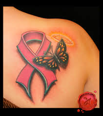 butterfly cross and pink cancer ribbon