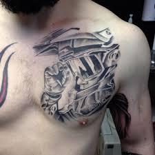 shoulder chest tattoos for men cool tribal design tattoo on left shoulder and chest