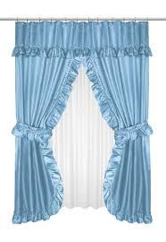 Blue Curtain Valance Ruffled Double Swag Shower Curtain With Valance U0026 Tie Backs Light