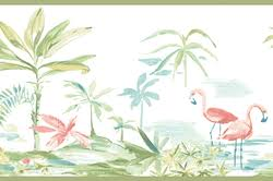 wallpaper with pink flamingos pink flamingos lagoon green wallpaper border 3113 12221b