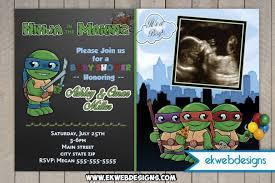 turtle baby shower custom mutant turtles baby shower invitations