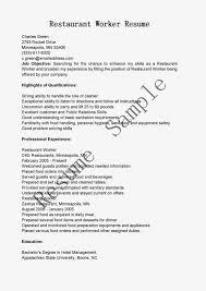 Resumes For Restaurant Jobs by Sample Resume For A Restaurant Job Httpwwwresumecareerinfo Resume