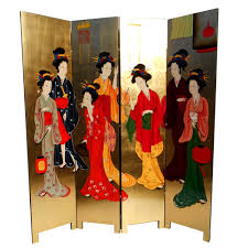 Gold Room Divider by Gold Leaf Room Dividers With Geisha Design Hand Painting 72 U0027 U0027h