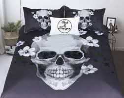 California King Black Comforter Skull Bedding Etsy
