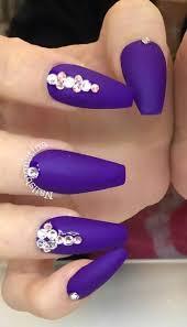 Rhinestone Nail Design Ideas Purple Matte Rhinestone Nails Nailsbymztina Banquet Nails