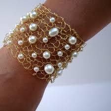 bridal bracelet gold images Wedding bracelet gold swarovski ivory pearl wide gold cuff jpg