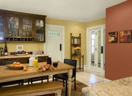 design cool traditional kitchen with nice yellow and peach paint