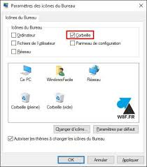 windows 10 remettre l icône de la corbeille sur le bureau