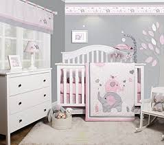 Geenny Crib Bedding Geenny Optimababy Pink Grey Elephant 6 Baby Nursery