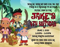 jake neverland pirates birthday party invitations personalized