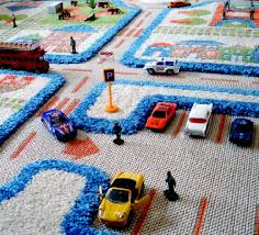 Childrens Play Rug Little Helper 3d Childrens Play Rug In Town Traffic Design Blue