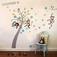 wall stickers birch trees boys pastel monkey blossom tree wall stickers