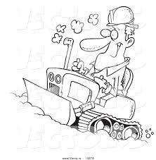 vector of a cartoon man operating a bulldozer outlined coloring