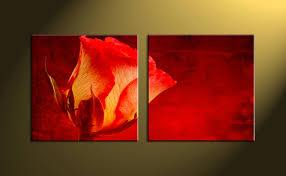 2 piece canvas red rose flower wall art