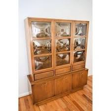 Curio Cabinets Pair Davis Vintage Walnut Star Inlaid Cabinets Pair Display Cabinets