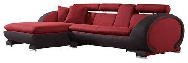 Contemporary Microfiber Sofa 1088b Red U0026 Black Microfiber Fabric Left Facing Sectional Sofa