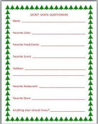 women u0027s secret santa questionnaire templates google search