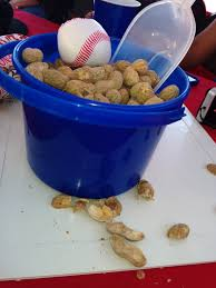 baseball party centerpieces peanuts in a bucket on rubber bases