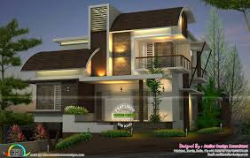 Home Design Consultant by Contemporary Style Curved Roof Mix Home Kerala Home Design