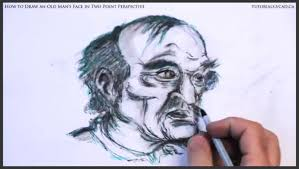 how to draw an old man u0027s face in two point perspective