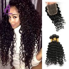latest hair weaves in uganda peruvian deep wave 3 bundles with closure 7a grade alimice