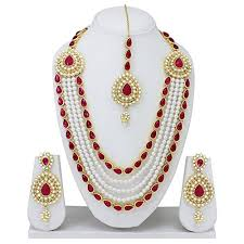 fashion pearl necklace set images Spangel fashion maharani haar pearl necklace set for women at jpg