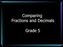 comparing fractions and decimals
