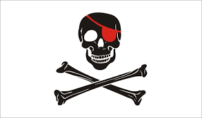Picture Of A Pirate Flag Red Patch White Background Flag