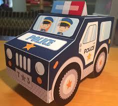police car favor box pdf printable cupcake treat box navy
