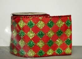 wide christmas ribbon 15 diamond jester pattern wired edge green christmas ribbon