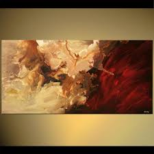 abstract painting red and sand color horizontal abstract soft 5561