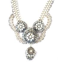 pearls swarovski crystals necklace images Swarovski crystals and pearls statement necklace ekojewellery jpg