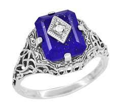 carolines ring art deco filigree diamond and lapis lazuli ring