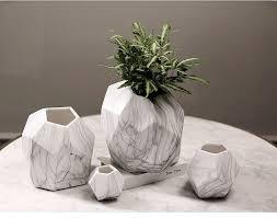Large White Vases Irregular Home Decor Flower Pots Ceramic Vases Marble Grain Vein