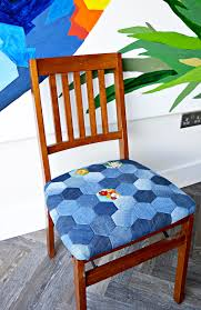 how to make a denim patchwork chair pillar box blue