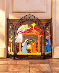 nativity metal fireplace screen freestanding winter