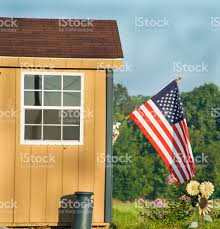 American House Flag American Flag On Country Shed Stock Photo Istock