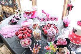 Pink And Black Candy Buffet by 33 Minnie Mouse Themed Candy Buffet Ideas