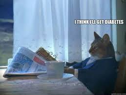 Diabetes Cat Meme - i think i ll get diabetes morning realization newspaper cat meme