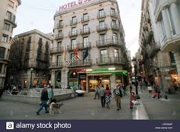 rialto hotel swiss hotel barri gotic barcelona stock photo