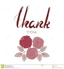 thank you phrase with flowers in marsala color stock vector