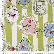 Pink Home Decor Fabric Aviary Kiwi Pink And Green Home Decor Fabric Mediumweight Multi