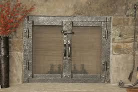rustic fireplace screens fire pit old world steel screen with door