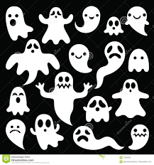 vector ghosts scary ghosts design halloween characters icons set stock vector