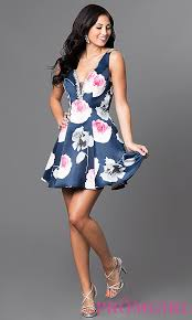short print low v neck homecoming dress promgirl