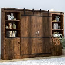 Swinging Bookcase Sliding Barn Door Media Center Wayfair