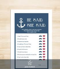 he said she said bridal shower nautical bridal shower diy nautical navy anchor