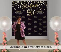 personalized photo backdrop fabulous 50 birthday personalized photo backdrop milestone