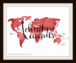 Travel Decor Travel Decor Adventure Awaits Red Art Print Inspirational