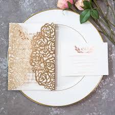 wedding invitations gold foil gold foil pressed glitter laser cut wedding invitations